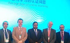 Con los participantes en la sesión sobre Recognition of Online Learning. Drs. Al Awar, Khoroshilov y Delgado Kloos