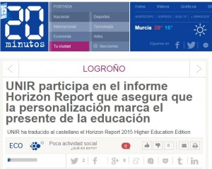 Ejemplo de Clipping: Unir participa en el informe Horizon Report 2015, en 20 Minutos