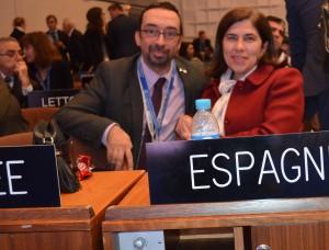 Con la delegación española en la 39 Conferencia General