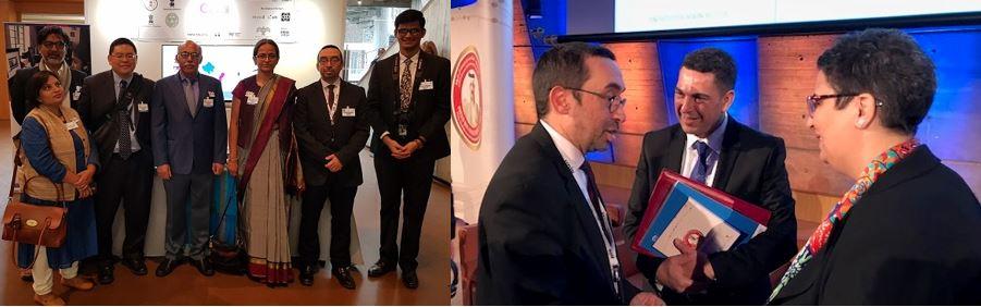 Con los ganadores del premio de India (iniciativa CLIx: Profesor Sarangapani, Doctor Kumar) y Marruecos (programa GENIE: Mr. Amzazi, Mrs. Laazis) y sus equipos