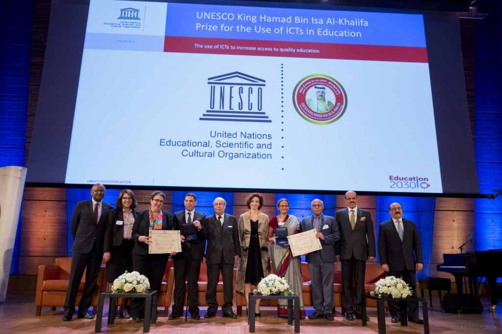 The 2017 prizewinners and the Director General of UNESCO, Madam Audrey Azoulay./ © UNESCO/Christelle ALIX for the gallery: https://flic.kr/s/aHsmgCiWXR